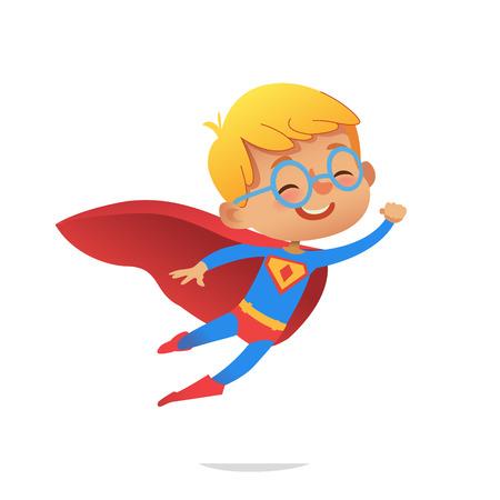Latający chłopiec ubrany w kolorowe kostiumy superbohaterów, na białym tle. Postaci z kreskówek wektorów Kid Superheroes, na imprezę, zaproszenia, www, maskotka