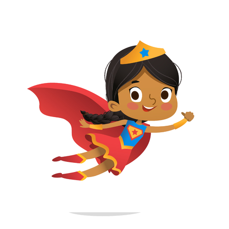 Vliegende Afrikaans-Amerikaans meisje dat kleurrijke kostuums van superheroe draagt, die op witte achtergrond wordt geïsoleerd. Vector stripfiguren van Kid Superheroes, voor feest, uitnodigingen, web, mascotte Vector Illustratie
