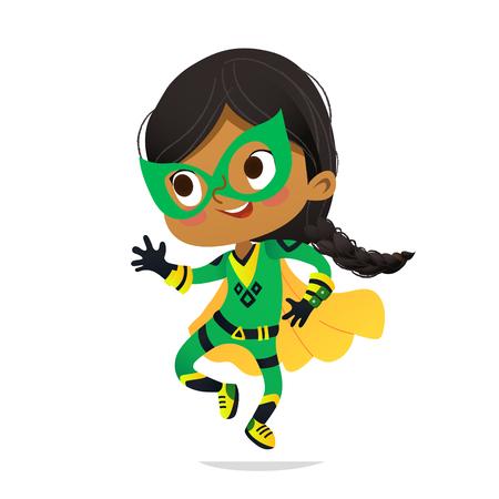 Bailando African-American Girl vistiendo coloridos trajes de superheroe, aislado sobre fondo blanco. Personajes vectoriales de dibujos animados de Kid Superheroes, para fiesta, invitaciones, web, mascota Ilustración de vector