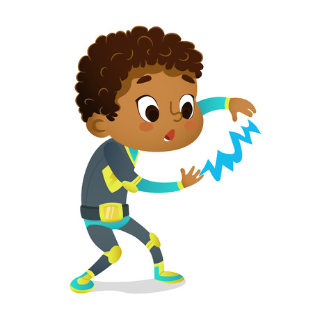 Surprised African-American Boy wearing colorful costume of superhero playing with lightning, isolated on white background. Cartoon vector characters of Kid Superheroes, party, invitations, web, mascot