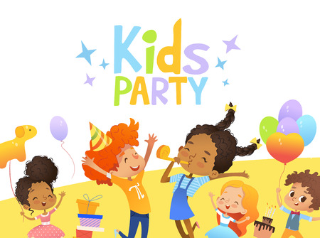 Joyous Multiracial kids in birthday hats and balloons happily jump. Cute rabbits, a bunch of presents on the background. Vector Illustration of a Happy Birthday Greeting Card or invitation flyer