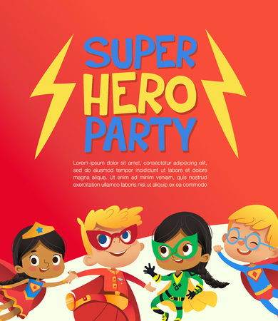 Joyous Multiracial kids in super hero outfit and balloons happily jump. Vector Illustration of a Super Hero Party poster or invitation flyer.