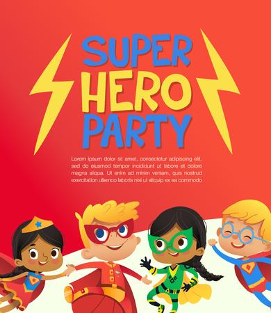 Gioiosi bambini multirazziali in costume da super eroe e palloncini saltano allegramente. Illustrazione vettoriale di un poster di Super Hero Party o un volantino di invito.