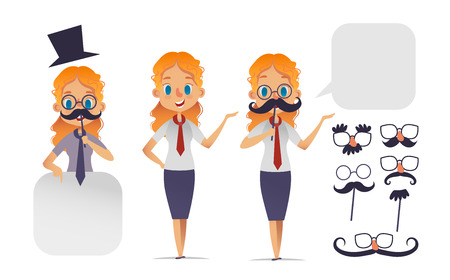 Cute girl character with glasses, various shape mustaches, and hat. Mustache constructor.