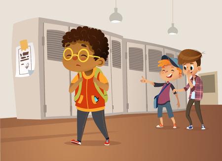 Triest overgewicht Afro-Amerikaanse jongen die een bril draagt die door school gaat. Schooljongens en kieuwen lachen en wijzen naar de zwaarlijvige jongen. Body shaming, fat shaming. Bulling op school. Vector