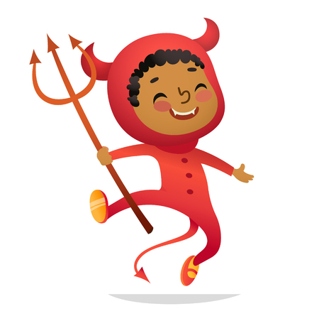 Halloween Kids Costume Party. African-American Boy in halloween devil costume laughing and dancing. Cartoon vector Character for party, invitations, web, mascot. Isolated 向量圖像