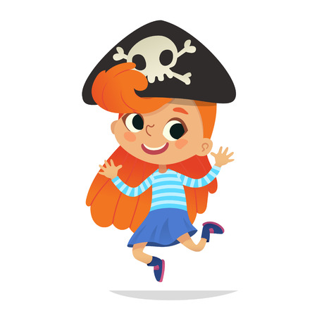 Redhead wearing cocked hat with the skull dancing little pirate. Girl kid in Halloween costume dancing and laughing. Vector. Character for Halloween party, invitations, web, mascot. Isolated.