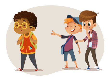 Sad overweight African-American boy wearing glasses going through school. School boys and gill laughing and pointing at the obese boy. Body shaming, fat shaming. Bulling at school. Vector illustration
