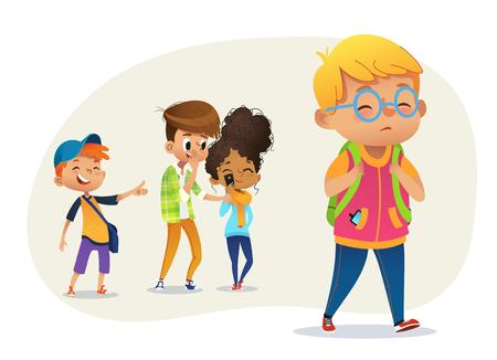 Triest overgewicht jongen met een bril die door school gaat. Schooljongens en Gill lachen en wijzen naar de zwaarlijvige jongen. Bodyshaming, vetshaming. Pesten op school. Vector illustratie. Vector Illustratie