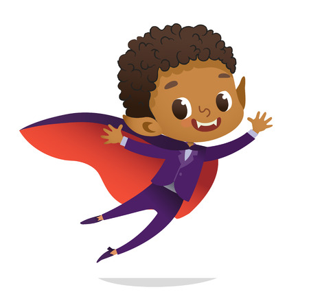 Kids Costume Party. African-American Dracula Vampire Boy in Halloween devil costume laughing and flying. Cartoon vector Character for party, invitations, web, mascot. Isolated. Vettoriali