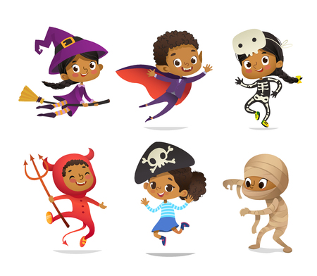 African-American set of Boys and Girls, wearing Halloween costumes on white background. Cartoon vector characters of Kid witch, pirate, Dracula, devil, skeleton, mummy, for party, web, mascot. Çizim