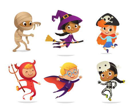 Set of Multiracial Boys and Girls, wearing Halloween costumes isolated on white background. Cartoon vector characters of Kid witch, pirate, Dracula, devil, skeleton, mummy, for party, web, mascot.