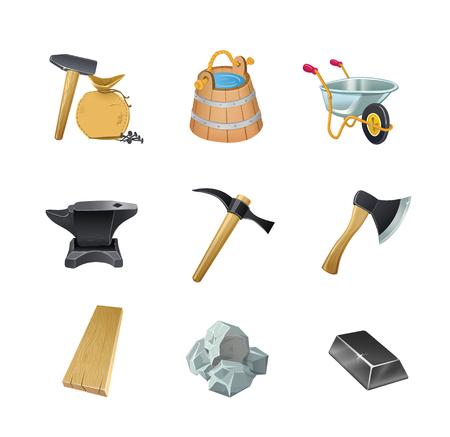 Conjunto de los activos de construcción del juego: hacha, cubo, carretilla de jardín, yunque, martillo, piedra, tablero, lingote, clavos, bolsa. Ilustración de vector