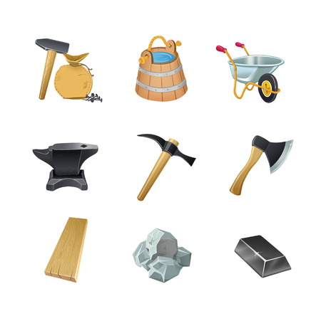 Set van het spel bouwactiva bijl, emmer, kruiwagentuin, aambeeld, hamer, steen, bord, staaf, spijkers, tas. Vector Illustratie