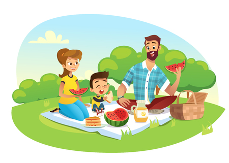 Happy family on a picnic. Dad, mom, son are resting in nature. Vector illustration in a flat style