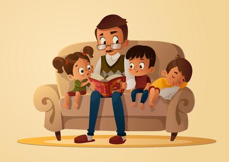 Dziadek siedzi z wnukami na wygodnej kanapie z książką, czytając i opowiadając bajki książkowe. Chłopcy i dziewczyna go słuchają. Ilustracja kreskówka wektor. Przytulny wieczór rodzinny.