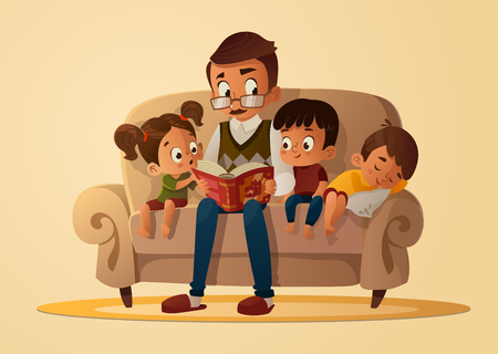 Grandfather sitting with grandchildren on a cozy sofa with the book, reading and telling book fairy tale story. Boys and girl listen to him. Vector cartoon illustration. Cozy family evening. Иллюстрация