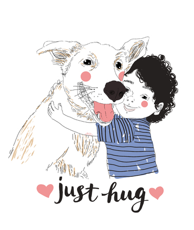 Cute Little Boy Hugging His Friend Big Dog. True friendship concert. Carrying of pets concept. Can be used for t-shirt print, kids wear fashion design, baby shower invitation card. Just Hug lettering Banco de Imagens