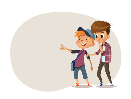 School boys and aughing and pointing at something. Bulling at school. Vector illustration.