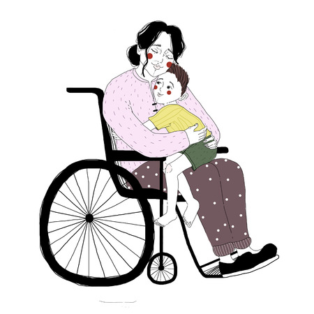 Drawing of disabled woman in wheelchair hugging little boy sitting on her lap. Pair of loving mother and son isolated on white background. Adorable mom and child, happy family. Illustration.