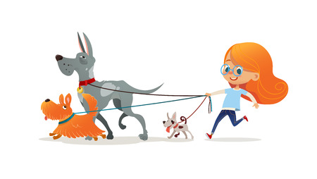 Little redhead girl walking three dog on leash. Cute child running with doggies. Adorable kid with red hair and her pets isolated on white background. Flat cartoon colorful vector illustration.