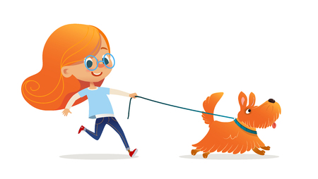 Niña divertida con pelo rojo y gafas caminando cachorro con correa. Divertido niño pelirrojo y perro aislado sobre fondo blanco. Dueño de mascota infantil en el paseo marítimo. Ilustración de vector colorido de dibujos animados plana