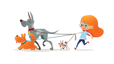 Little redhead girl walking three dog on leash. Cute child running with doggies. Adorable kid with red hair and her pets isolated on white background. Flat cartoon colorful vector illustration. Stock Photo