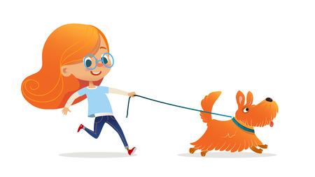 Niña divertida con pelo rojo y gafas caminando cachorro con correa. Divertido niño pelirrojo y perro aislado sobre fondo blanco. Dueño de mascota infantil en el paseo marítimo. Ilustración de vector colorido de dibujos animados plana. Foto de archivo