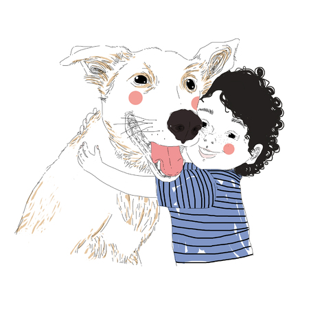 Illustration of a cute little boy hugging his friend big dog. True friendship concert. Carrying of pets concept. Can be used for t-shirt print, kids wear fashion design, baby shower invitation card