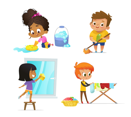 Raccolta di bambini che svolgono routine domestiche: pulire il pavimento, lavare la finestra, appendere i vestiti sullo stendino. Concetto di attività educative coinvolgenti Montessori. Fumetto illustrazione vettoriale.