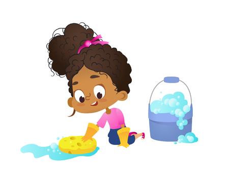 Concetto di bambini che fanno routine domestiche - piccola ragazza afro-americana che lava il pavimento con guanti in lattice, Concetto di attività educative Montessori. Illustrazione vettoriale dei cartoni animati Vettoriali