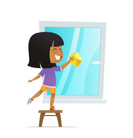 Smilind girl washing window, Concept of Montessori engaging educational activities. Cartoon vector illustration