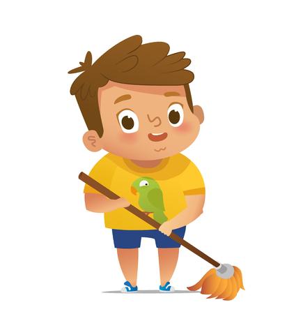 Kinder, die Haushaltsroutinen tun - kleiner Junge, der Boden wischt. Konzept der Montessori-Aktivitäten im Bildungsbereich. Cartoon-Vektor-Illustration