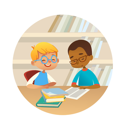 Smiling children reading books and talking to each other at school library. School kids discussing literature in round frames. Cartoon vector illustration for banner, poster. Illustration