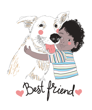 Portrait of cute little African-American boy hugging dog and Best Friend lettering handwritten with cursive font. child with his pet or domestic animal. Vector illustration for postcard, poster.