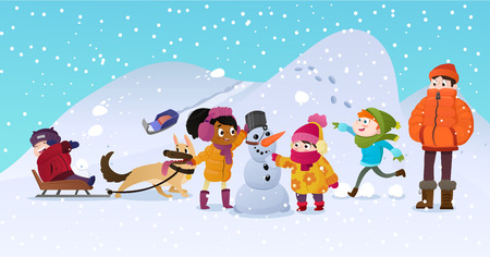Vector Illustration of multiracial kids playing outdoors. Girls and boys making snowman in winter, children playing in snowballs, sledding, playing with dog. Mentor man looks after the children Illustration