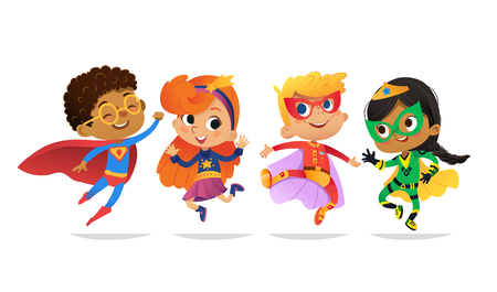 Multiracial Boys and Girls, wearing colorful costumes of superheroes, happy jump. Cartoon vector characters of Kid Superheroes, isolated on white background. for party, invitations, web, mascot.
