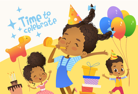 Joyous African-American kids in birthday hats and balloons happily jump. Cute rabbits, a bunch of presents on the background. Vector Illustration of a Happy Birthday Greeting Card or invitation flyer. Illustration