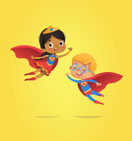 Junge und afroamerikanische Mädchen, die Kostüme von Superhelden tragen, fliegen. Cartoon-Vektor-Figuren von Kid Superhelden isoliert. Kann für Party, Einladungen, Web, Maskottchen verwendet werden