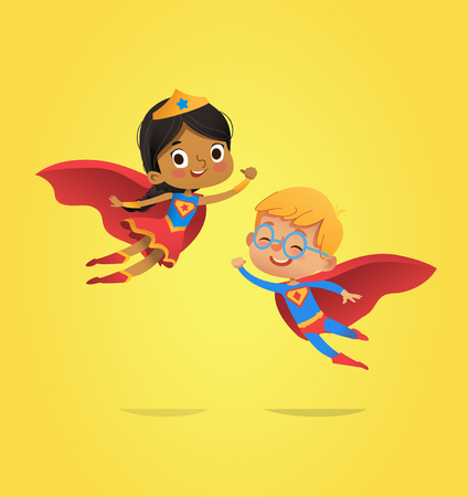Boy and African American Girl, wearing costumes of superheroes fly. Cartoon vector characters of Kid Superheroes isolated. Can be used for party, invitations, web, mascot