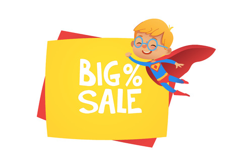 Sale banner background with the suoer hero boy. Price discount promotion poster for kids