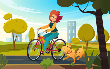 Vector cartoon illustration of young redhead woman riding bicycle in a park and a dog runs near her. Female cartoon character on white background.