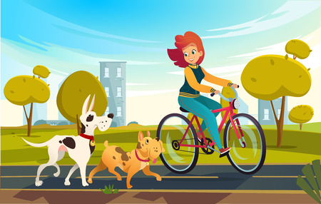 Vector cartoon illustration of young redhead woman riding bicycle in a park or countryside and a dog runs near her. Female cartoon character. Pets on a walk.