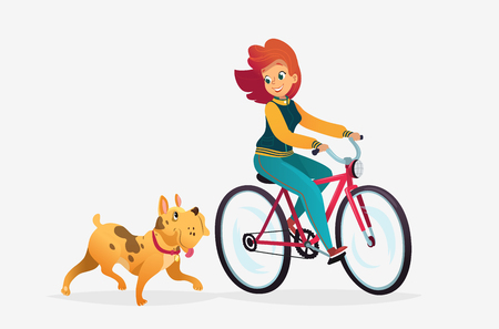 Vector cartoon illustration of young redhead woman riding a dog runs near her. Female cartoon character. Pets on a walk. Isolated on a white background.