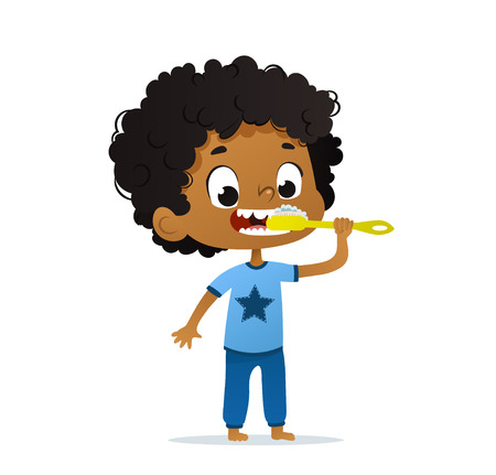 Vector Illustration of cute African-American Kid Boy Brushing his teeth. Morning hygiene for. Isolated. 向量圖像