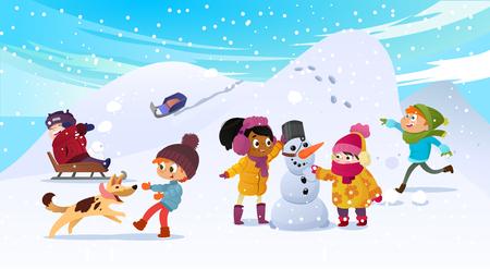 Illustrazione vettoriale di bambini multirazziali che giocano all'aperto. Ragazze e ragazzi che fanno pupazzo di neve in inverno, bambini che giocano a palle di neve, slittino, giocano con il cane. L'uomo mentore si prende cura dei bambini. Vettoriali