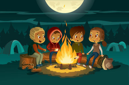 Kids camping in the forest at night near big fire. Children sitting in a cearcle, tell scary stotys and roast marshmallows. Tents in the background. Adventure and exploration concept. Vector