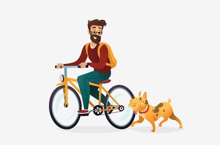 Vektorkarikaturillustration des jungen Mannes, der Fahrrad in einem Park fährt, läuft ein Hund in seiner Nähe. Männliche Zeichentrickfigur. Haustiere auf einem Spaziergang. Isoliert auf weißem Hintergrund. Vektorgrafik