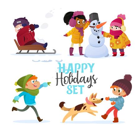 Establecer niños multirraciales jugando en invierno. Niñas y niños haciendo muñeco de nieve, niños jugando en bolas de nieve, trineos, jugando con perros. Diversión al aire libre en vacaciones o días festivos de Navidad. Ilustración de vector. Ilustración de vector