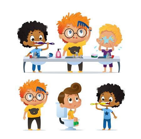 Vector Set of Illustration of cute kindergarten multiracial kids doing morning rutine. Boy Brushing his teeth. Cute kindergarten Boy combs his tousle hair. Boy on the toilet